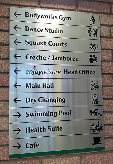 a sign incorporating symbols in a sports centre